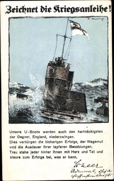 Ak Deutsches U Boot, Kriegsanleihe