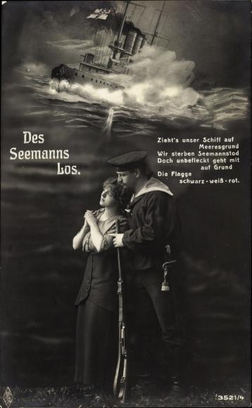 Ak Seemannslos, Matrose nimmt Abschied, Deutsches Kriegsschiff