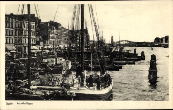 Ak Szczecin Stettin Pommern, Fischbollwerk, Hafen