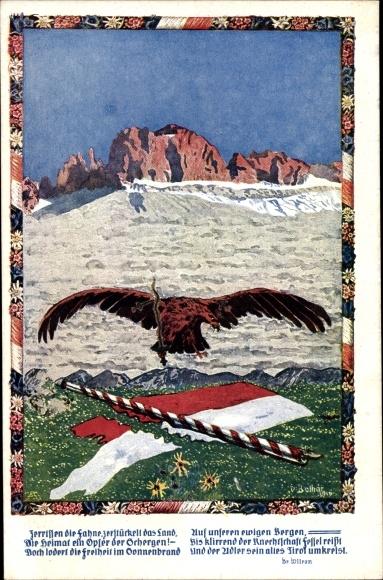 Künstler Ak Tirol, Adler, Fahne, Gedicht, Zerreißung Tirols