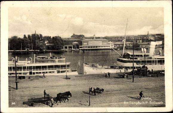 Ak Szczecin Stettin Pommern, Am Dampfschiff Bollwerk
