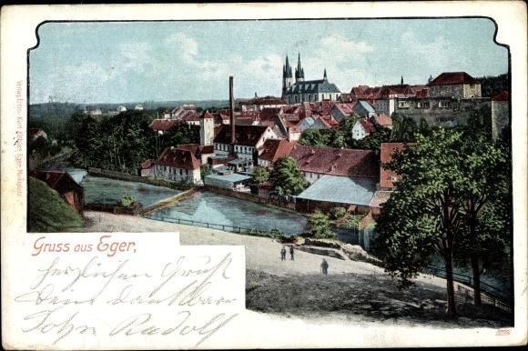 Ak Cheb Eger Reg. Karlsbad, Blick auf die Stadt