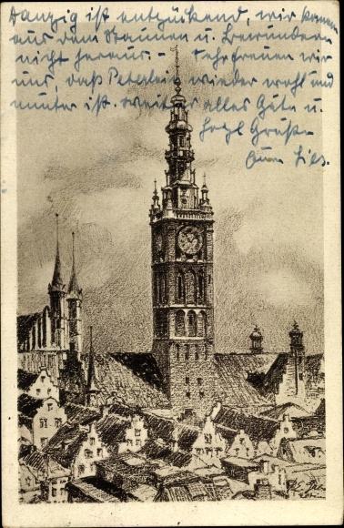 Künstler Ak Gdańsk Danzig, Der Rathausturm