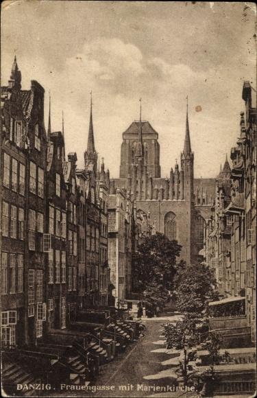 Ak Gdańsk Danzig, Frauengasse mit Marienkirche