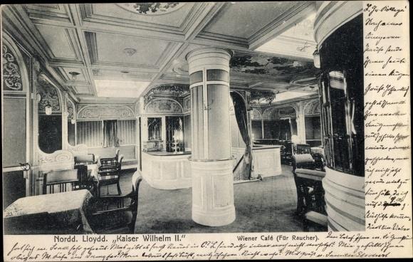 Ak Deutsches Schiff Kaiser Wilhelm II., Norddeutscher Lloyd, Wiener Café für Raucher