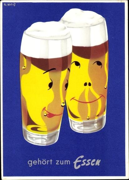 Künstler Ak Abeking, Th., Bier gehört zum Essen