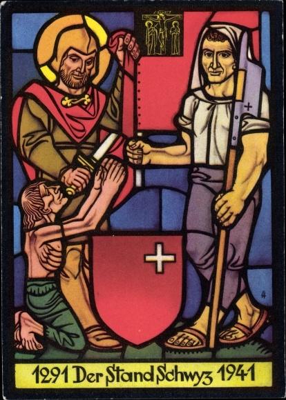 Künstler Ak Albert, Lothar, Schwyzer Standesscheibe, Der Stand Schwyz 1291-1941