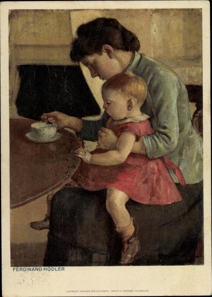 Künstler Ak Hodler, Ferdinand, Mutter mit Kind, Bundesfeier 1945