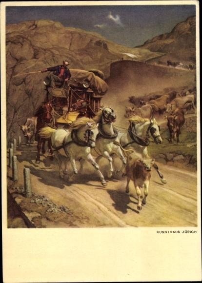Künstler Ak Schweiz, Postkutsche, Bundesfeier 1949