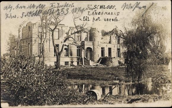 Foto Ak Langemarkt Westflandern, Zerschossenes Schloss, Kriegszerstörungen, I. WK