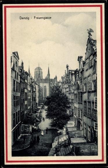 Passepartout Ak Gdańsk Danzig, Frauengasse, St. Marienkirche