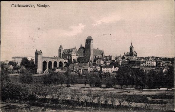 Ak Kwidzyn Marienwerder Westpreußen, Blick zur Burg, Remter