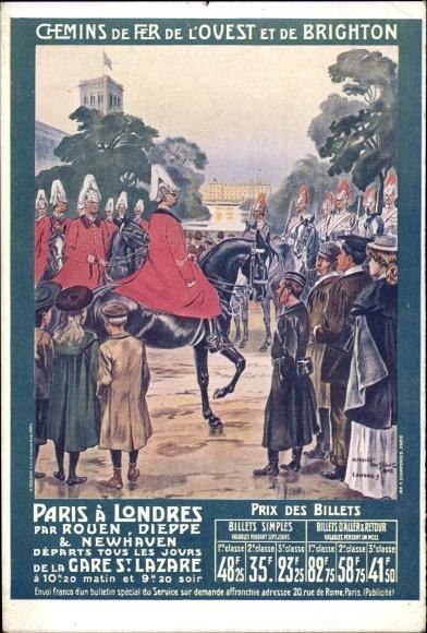 Künstler Ak Chemins de Fer de l'Ouest et de Brighton, Paris a Londres, Parade zu Pferd in London