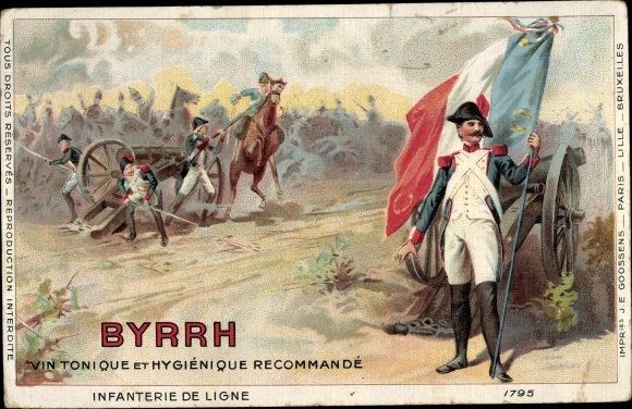 Künstler Ak Infanterie de Ligne, Byrrh, Vin Tonique et Hygienique, Reklame
