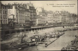 Ak Paris VI., Quai des Grands Augustins, Relevement d'un bateau Coule