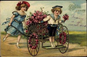 Präge Litho Glückwunsch Neujahr, Kinder mit Handkarrren, Rosen