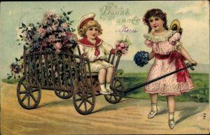 Präge Litho Glückwunsch Neujahr, Kinder mit Handkarren, Blumen