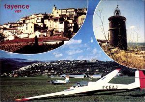 Ak Segelflugzeug F-CEAJ, Fayence Var, Aussichtsturm, Panorama vom Ort