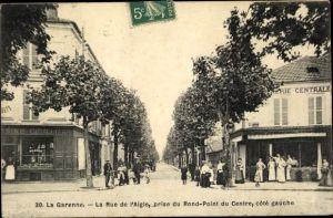 Ak La Garenne Hauts-de-Seine, La Rue de l'Aigle, prise du Rond Point du Centre, Coté gauche