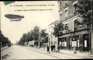 Ak La Garenne Hauts-de-Seine, Boulevard de la République, Dirigéable Clément Bayard