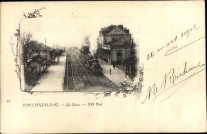 Ak Fontainebleau Seine et Marne, La Gare