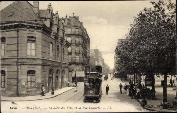 Ak Paris XV., La Salle des Fetes et la Rue Lecourbe