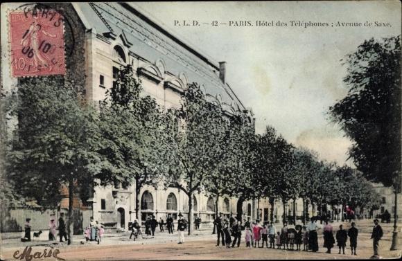 Ak Paris XV., Hotel des Telephones, Avenue de Saxe