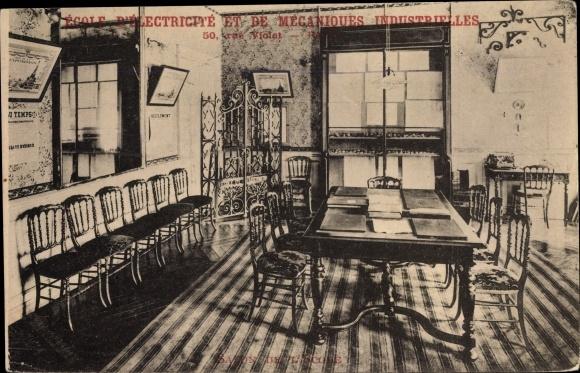 Ak Paris XV., Ecole d'Electricite et de Mecaniques Industrielles, rue Violet 50, Salon de l'Ecole