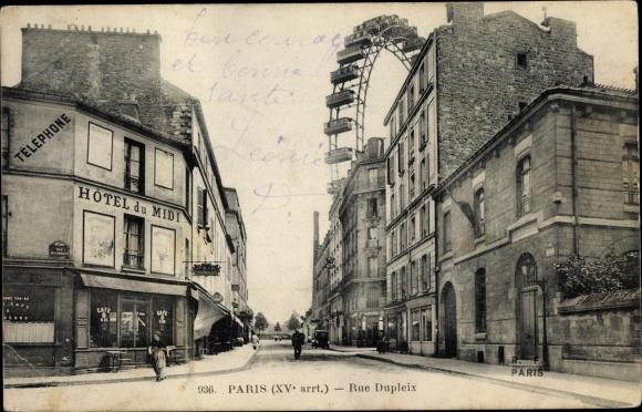 Ak Paris XV., Rue Dupleix, Hotel du Midi, Riesenrad