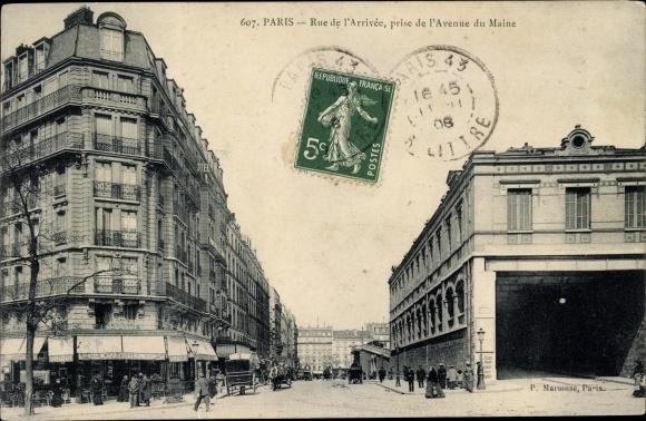 Ak Paris XV., Rue de l'Arrivee, prise de l'Avenue du Maine