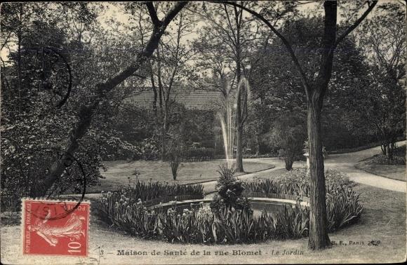 Ak Paris XV., Maison de Sante de la rue Blomet, Le Jardin, fontaine