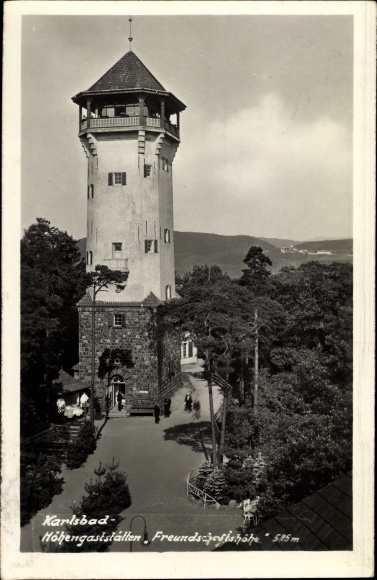 Ak Karlovy Vary Karlsbad Stadt, Höhengaststätten Freundschaftshöhe