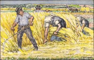 Ganzsachen Künstler Ak Erntemotiv, Bundesfeier 1920