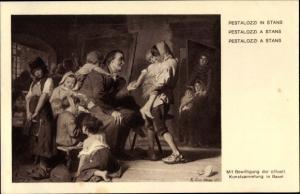 Ganzsachen Künstler Ak Pestalozzi in Stans, Bundesfeier 1914