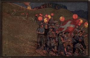 Ganzsachen Künstler Ak Laternenumzug, Bundesfeier 1912