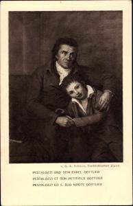 Ganzsachen Künstler Ak Schöner, G.A., Pestalozzi und sein Enkel Gottlieb, Bundesfeier 1914