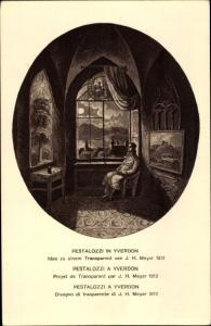 Ganzsachen Künstler Ak Pestalozzi in Yverdon, Bundesfeier 1914