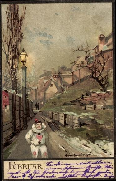 Künstler Ak Guggenberger, Thomas, Monat Februar, Winter, Harlekin