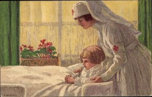 Ganzsachen Künstler Ak Beurmann, E., Krankenschwester, Betendes Kind, Bundesfeier 1921