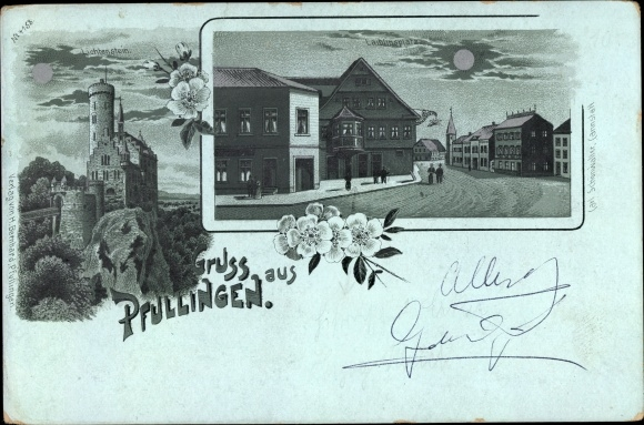 Mondschein Litho Pfullingen in der Schäwbischen Alb, Lichtenstein, Laiblingsplatz