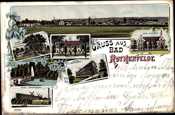 Litho Bad Rothenfelde am Teutoburger Wald, Totale, Kurhaus, Gradirwerk, Kinderheilanstalt