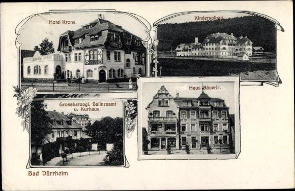 Ak Bad Dürrheim im Schwarzwald Baar Kreis, Hotel Krone, Kindersolbad, Salinenamt, Haus Bäuerle