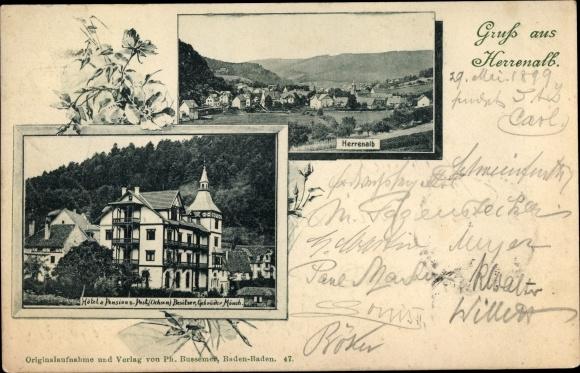 Ak Bad Herrenalb im Schwarzwald, Hotel und Pension Post, Gesamtansicht
