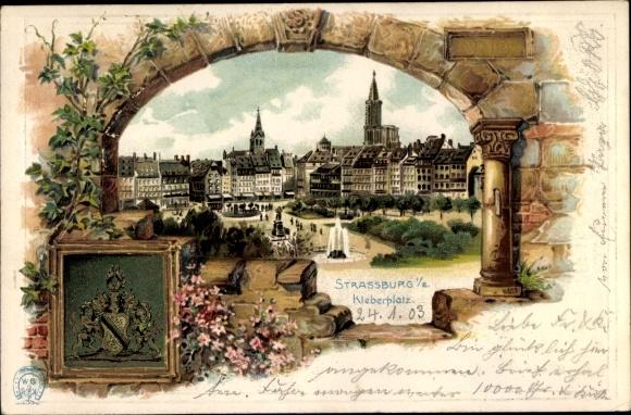 Präge Wappen Litho Straßburg Elsaß Bas Rhin, Blick auf den Kleberplatz