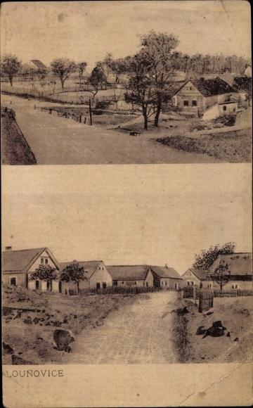 Ak Louňovice Mittelböhmen, Dorfpartie