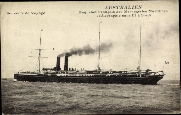 Ak Paquebot Australien, Dampfschiff, Messageries Maritimes, MM