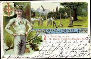 Litho Hamburg, 9. Deutsches Turnfest 1896, Turner, Jahn Kreuz, Turner am Reck