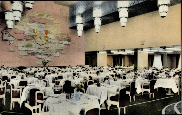 Ak Dampfer Ile de France, French Line, la Salle à Manger