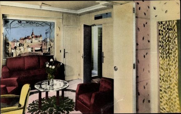 Ak Dampfer Ile de France, French Line, Appartement de luxe Chantilly