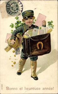 Präge Litho Glückwunsch Neujahr, Postbote, Münzen, Kleeblätter, Hufeisen